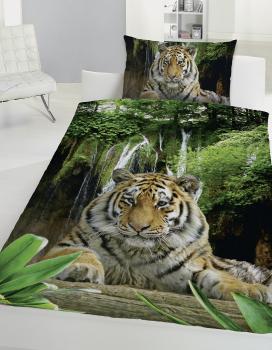 Renforcé Bettwäsche Tiger 100 Baumwolle Mit Knopfverschluss