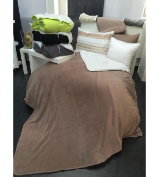 Fleece Wohndecke Sherpa 150x160cm Coffee/White