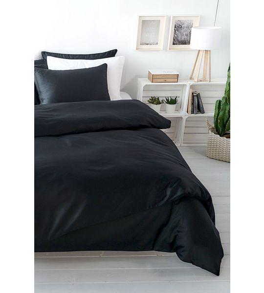 uni satin duvetbezug 160x210cm schwarz bettw sche. Black Bedroom Furniture Sets. Home Design Ideas
