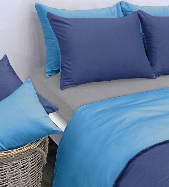 duvetbezug uni satin doubleface 160x210cm azur blau bettw sche fixleint cher moltons. Black Bedroom Furniture Sets. Home Design Ideas
